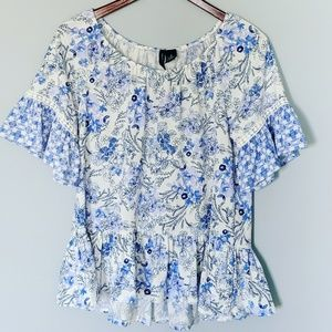 New Directions Bohemian Floral Ruffle Blouse
